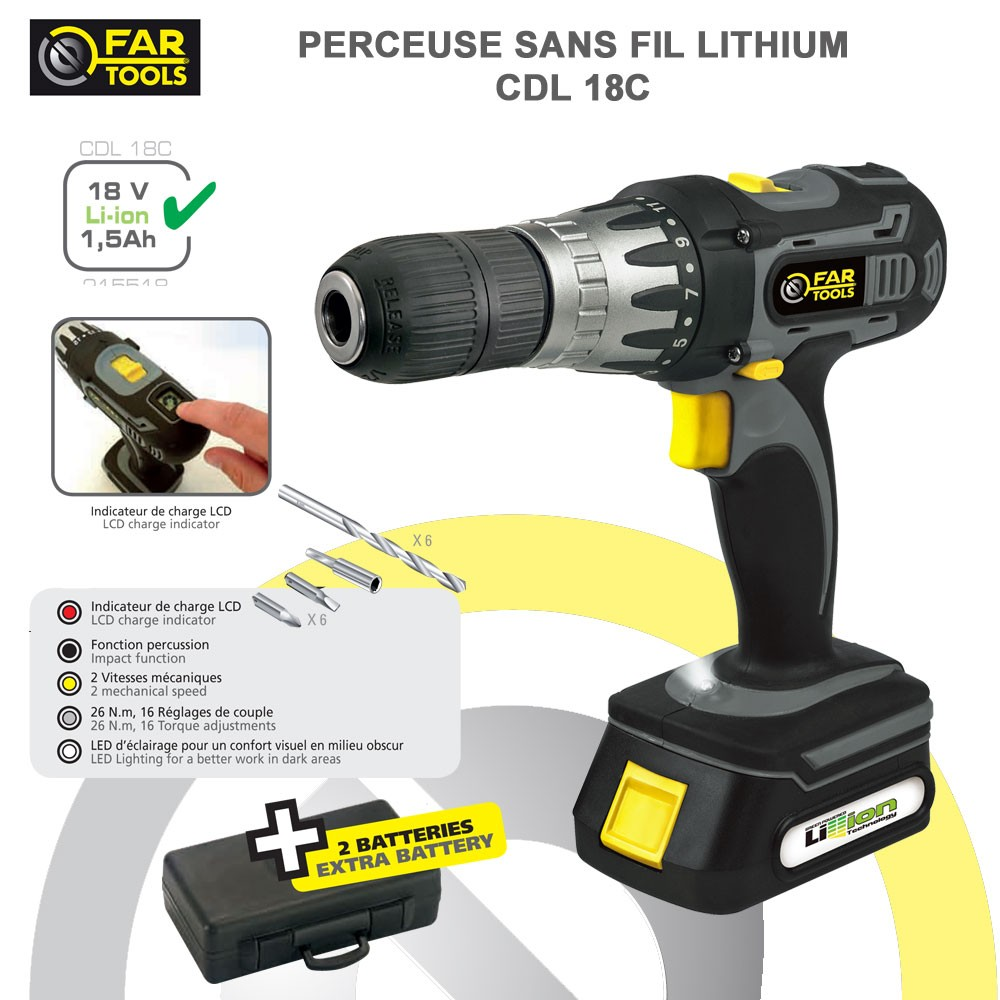 Perceuse sans fil cdl14c fartools fartools 215518 vente for Comparatif perceuse visseuse sans fil