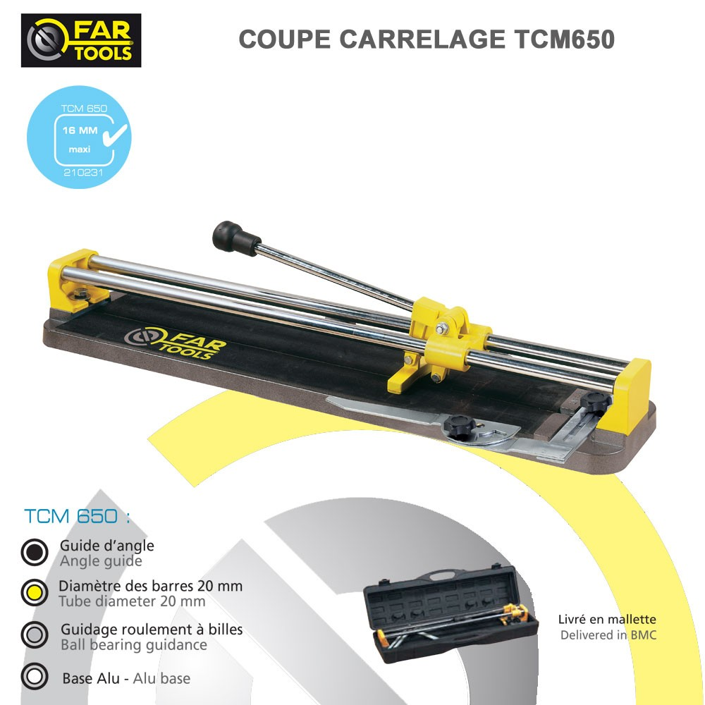 Coupe carrelage manuel tcm650 fartools 210231 fartools for Couper carrelage