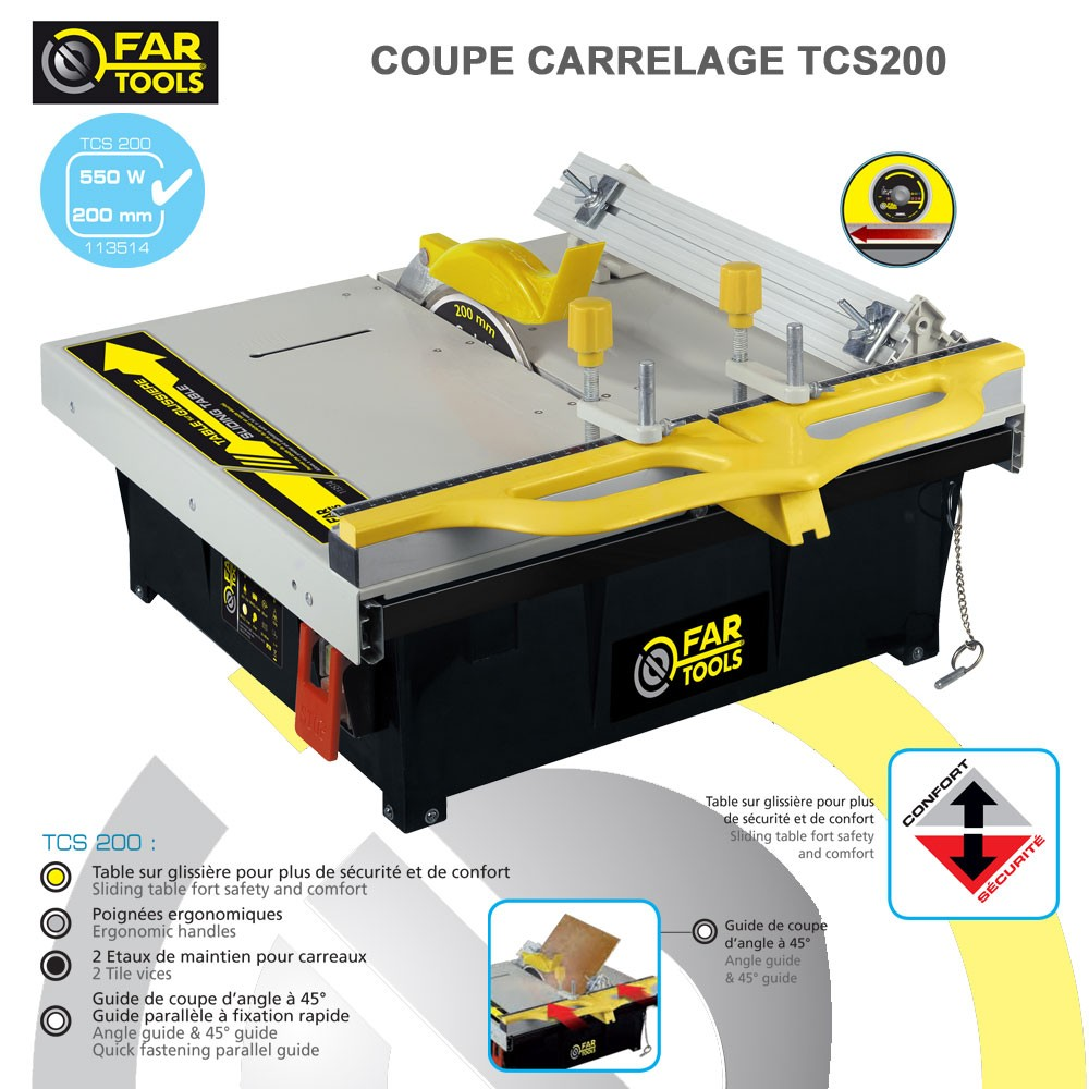 Coupe carrelage tcs200 fartools 113514 fartools vente de for Couper carrelage