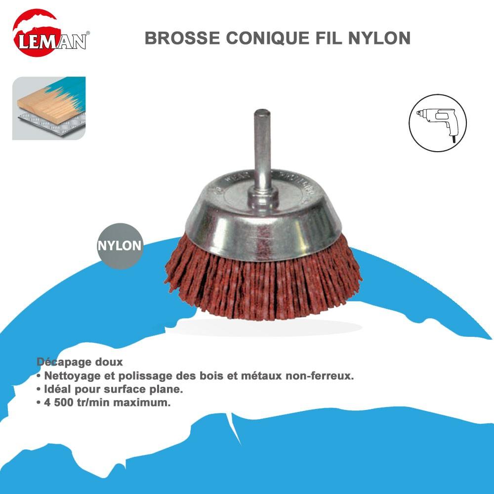 Brosse conique fil nylon pour perceuse leman leman - Brosse pour perceuse ...