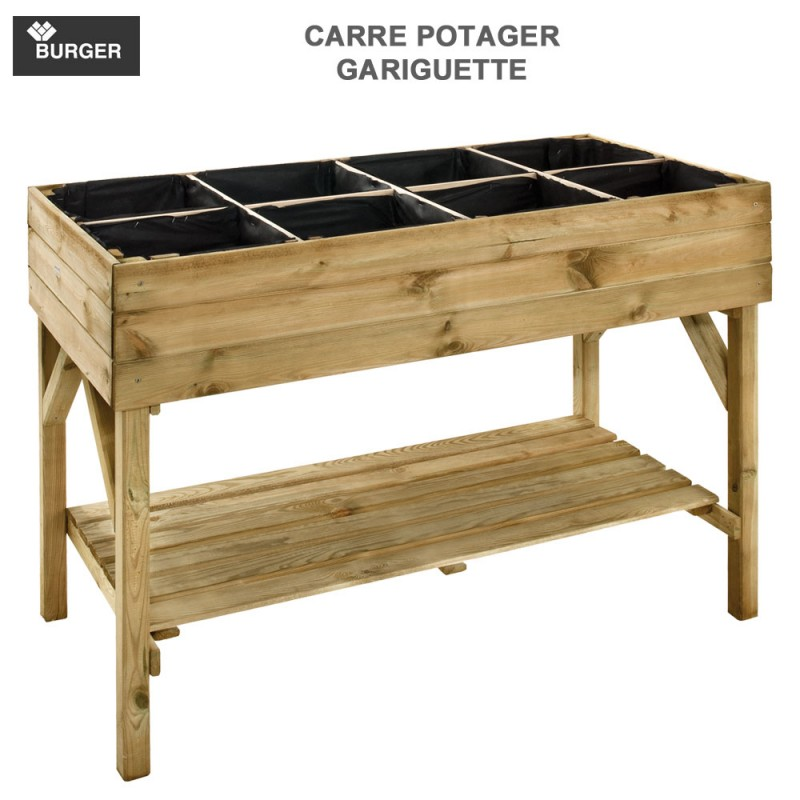 carr potager sur pied bois gariguette burger jardipolys. Black Bedroom Furniture Sets. Home Design Ideas