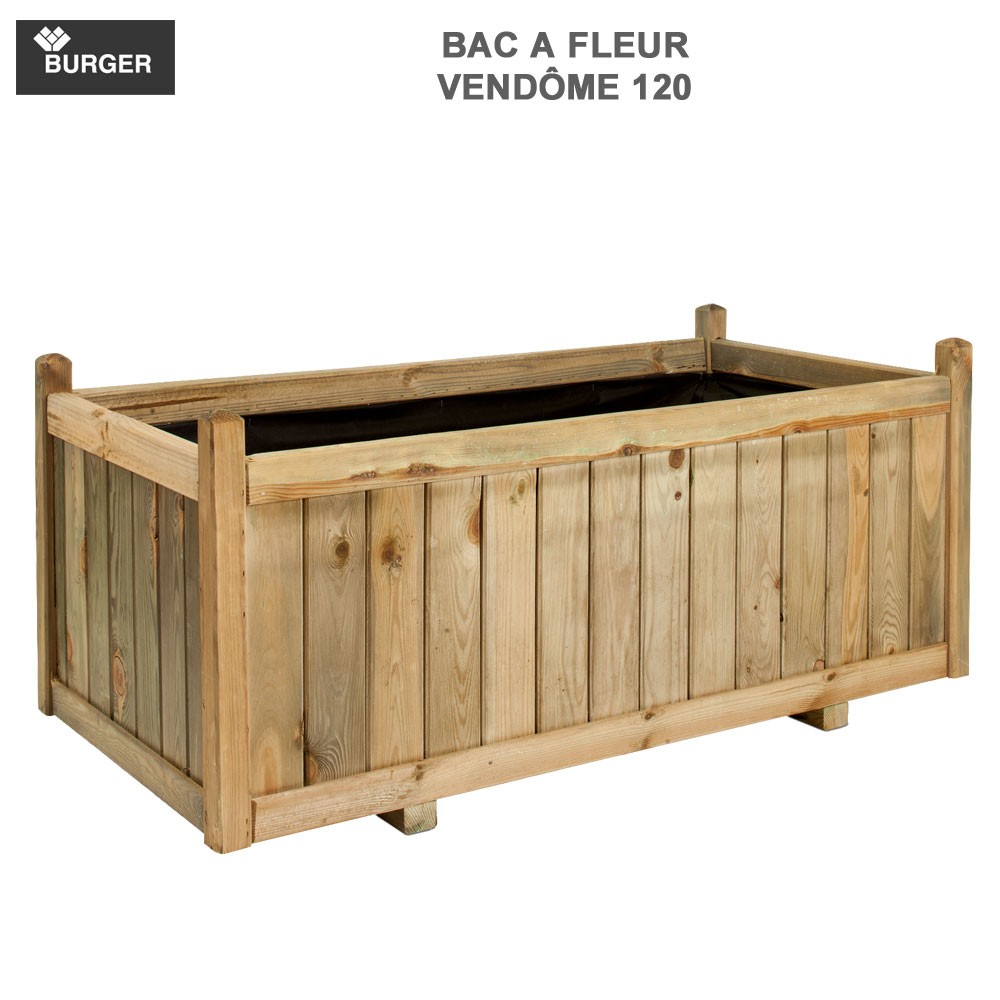bac fleur en bois rect vend me 120 x 60 x 50 cm burger jardipo. Black Bedroom Furniture Sets. Home Design Ideas