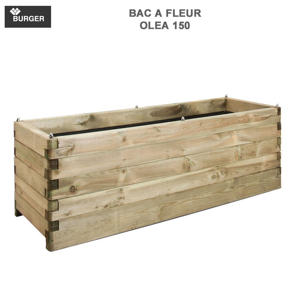 bac fleur en bois rect ol a 50 x 150 x 50 cm burger jardipolys. Black Bedroom Furniture Sets. Home Design Ideas