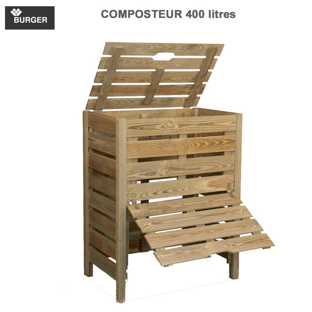 composteur bois 400 litres burger jardipolys 0100058. Black Bedroom Furniture Sets. Home Design Ideas