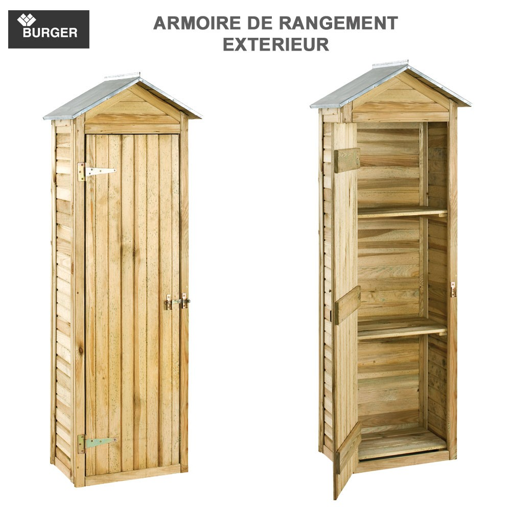 armoire de rangement de jardin 63 x 43 x 181 cm burger jardipolys. Black Bedroom Furniture Sets. Home Design Ideas