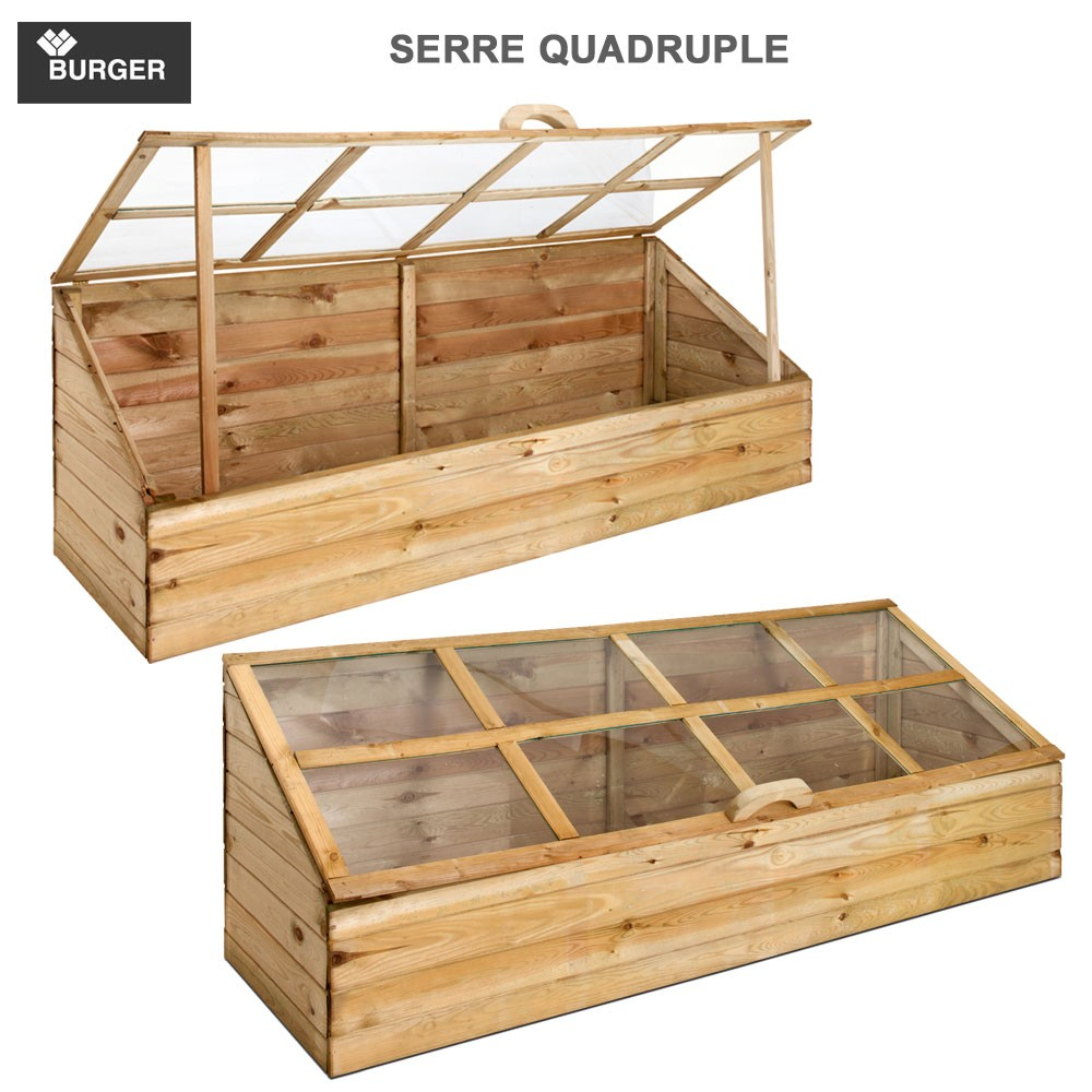 serre de jardin bois quadruple burger jardipolys burger 0100119. Black Bedroom Furniture Sets. Home Design Ideas