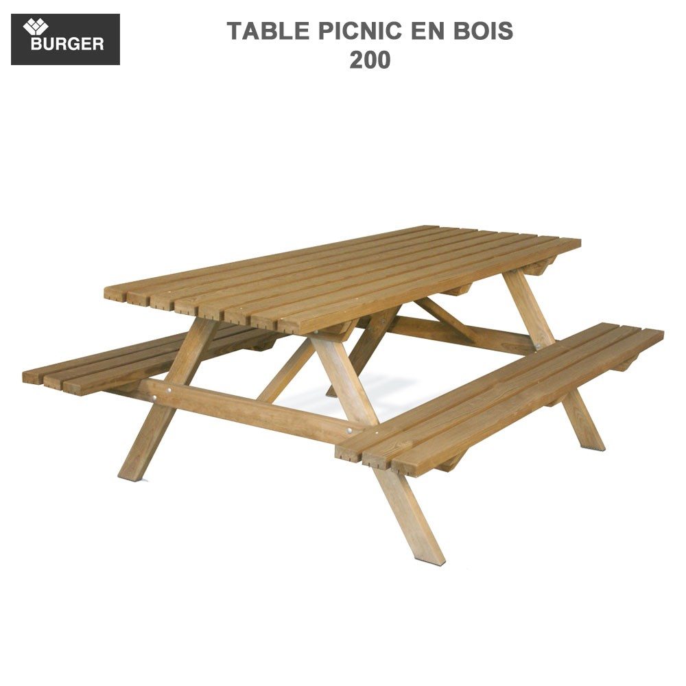 table picnic en bois 200 burger jardipolys burger 0100003 vente. Black Bedroom Furniture Sets. Home Design Ideas