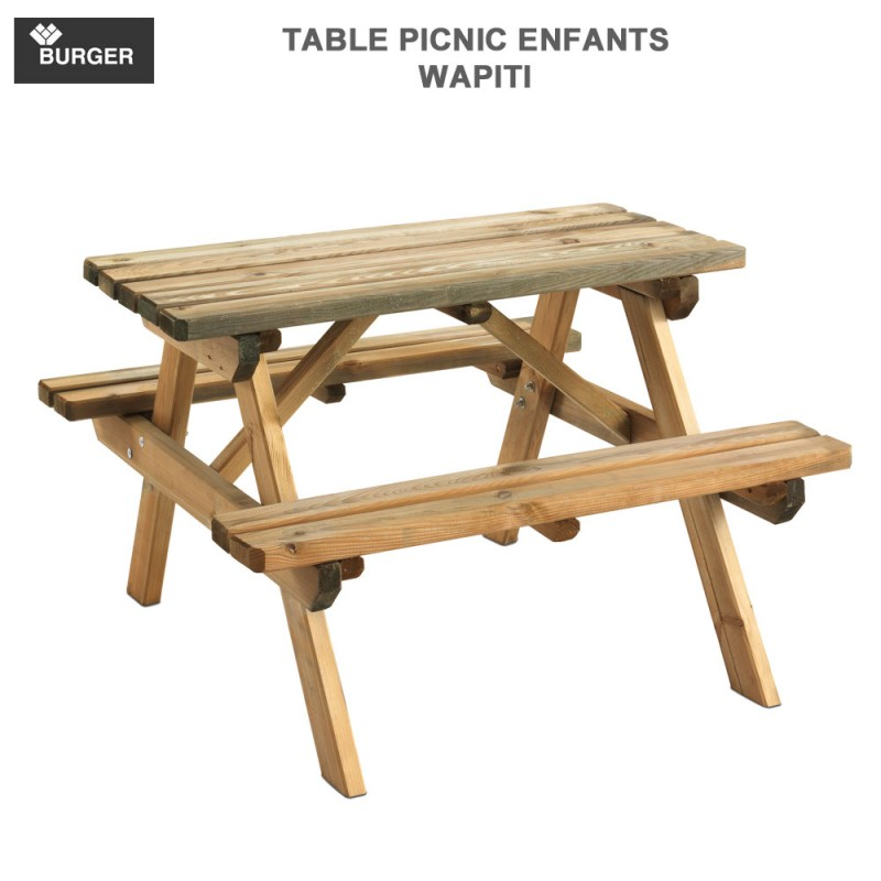 table picnic enfant en bois wapiti 90x90 cm burger jardipolys 081. Black Bedroom Furniture Sets. Home Design Ideas