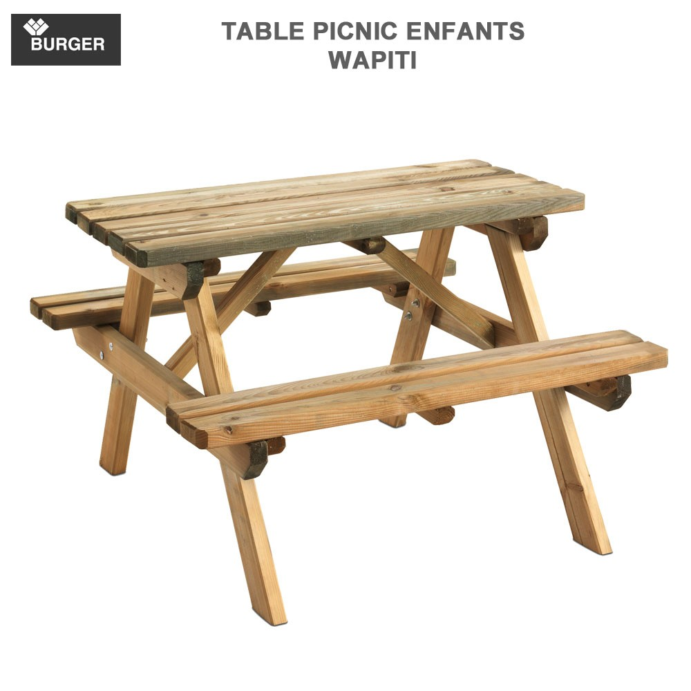 table picnic enfant en bois wapiti 90x90 cm burger. Black Bedroom Furniture Sets. Home Design Ideas