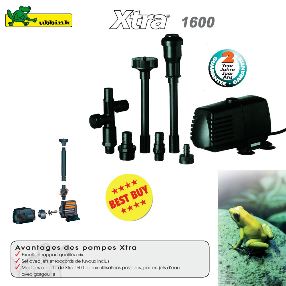 Pompe pour bassin aquatique xtra 1600 ubbink 1351951 for Vente de bassin aquatique
