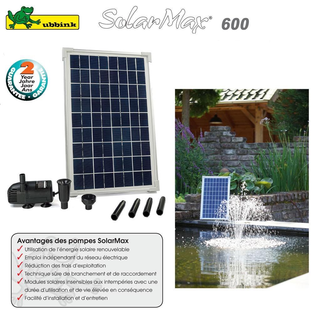 pompe pour bassin aquatique solaire solarmax 600 ubbink. Black Bedroom Furniture Sets. Home Design Ideas