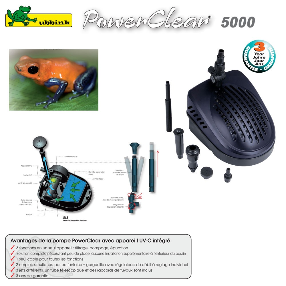 Pompe pour bassin aquatique avec uv c powerclear 5000 for Pompe pour bassin poisson exterieur
