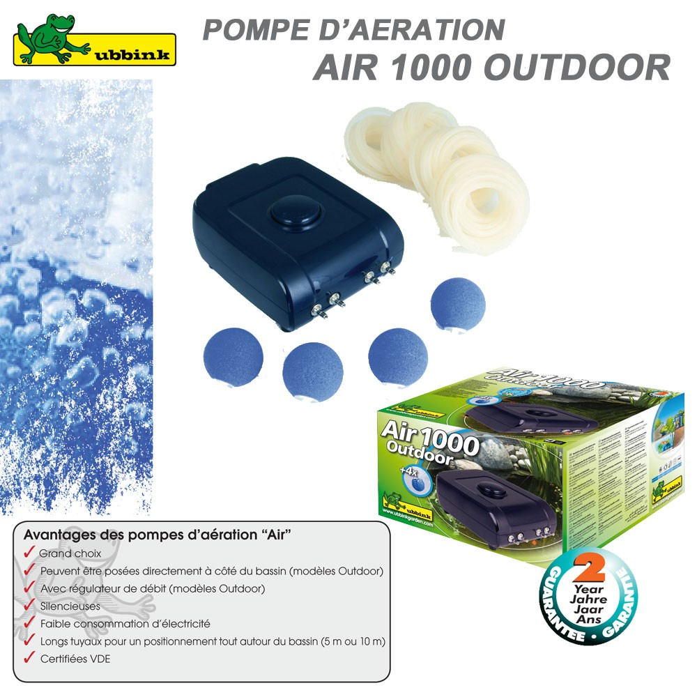 Pompe d 39 a ration pour bassin air outdoor 1000 ubbink for Pompe air bassin