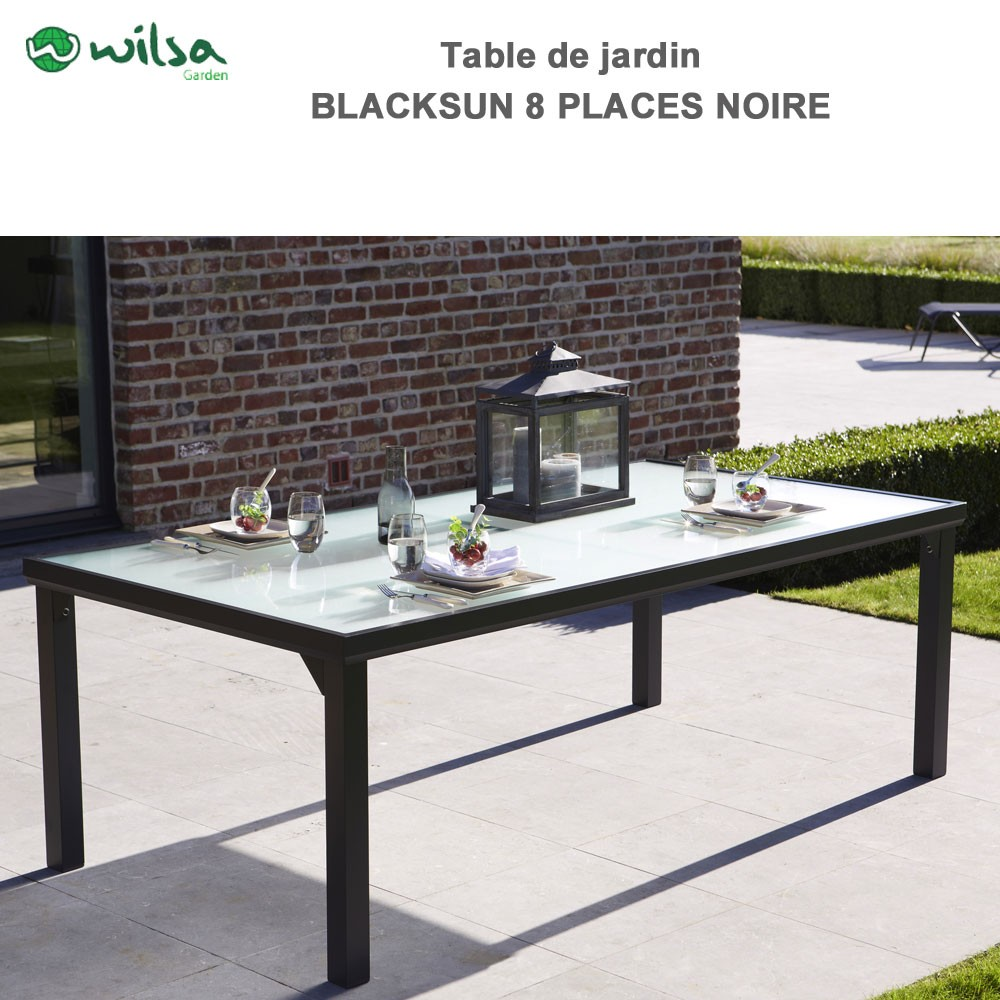 Table de jardin blacksun 8 places noire wilsa garden 602090 wilsa g - Table de jardin discount ...