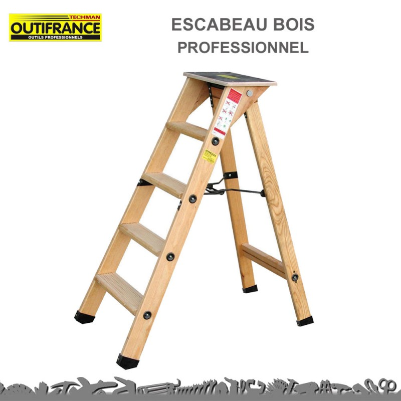 escabeau 4 marches bois professionnel tablette outifrance 8831250. Black Bedroom Furniture Sets. Home Design Ideas