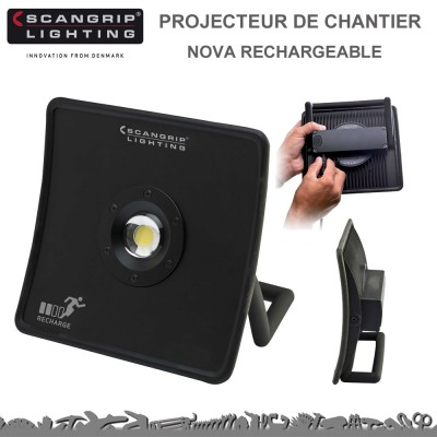 projecteur de chantier nova rechageable scangrip lighting. Black Bedroom Furniture Sets. Home Design Ideas
