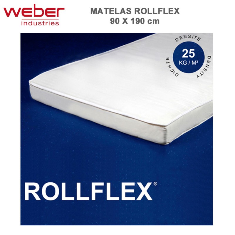 matelas rollflex 90 x 190 cm 1110 weber vente de matelas et sommie. Black Bedroom Furniture Sets. Home Design Ideas