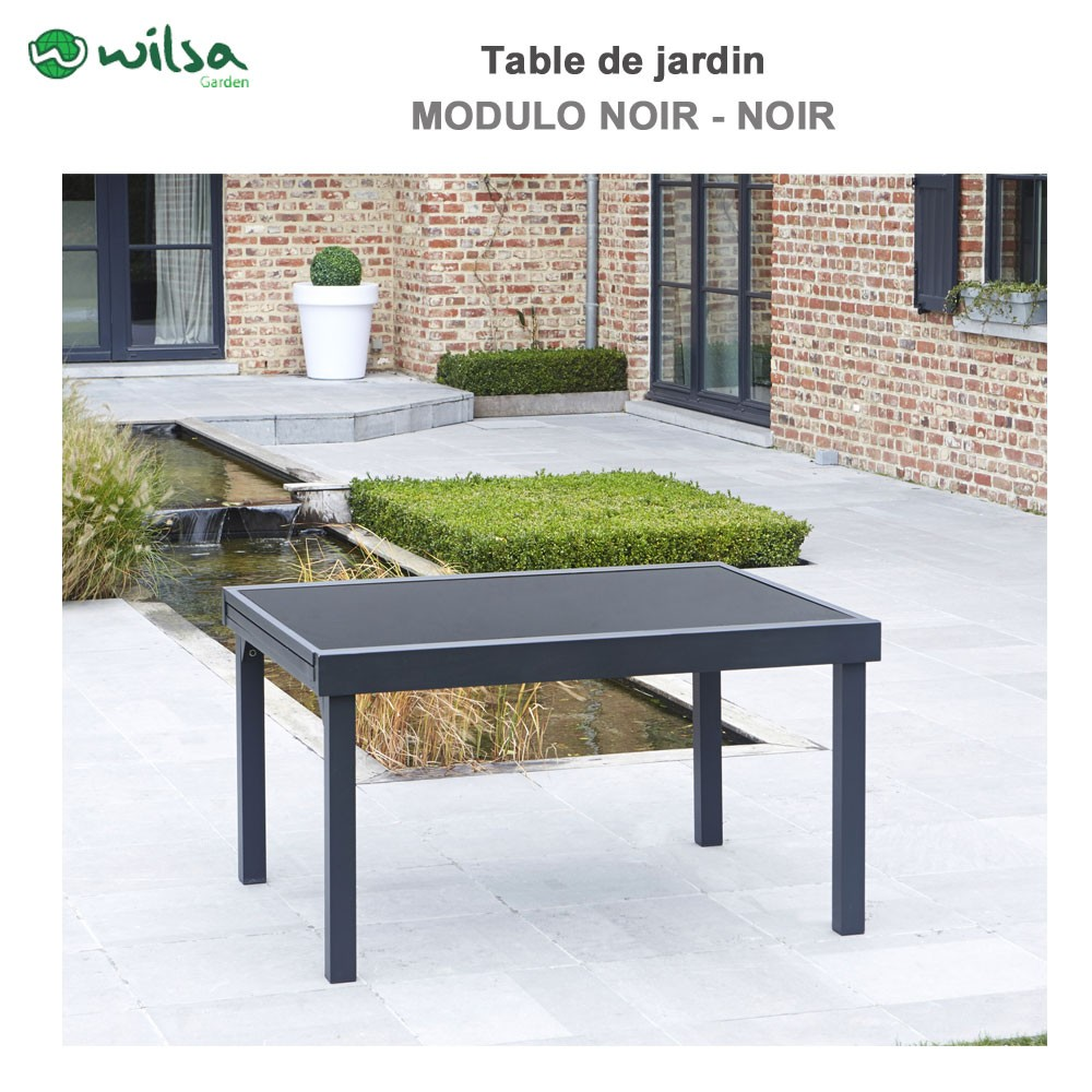 Table de jardin modulo 6 10 places noir wilsa garden 600012 wilsa g - Table de jardin discount ...