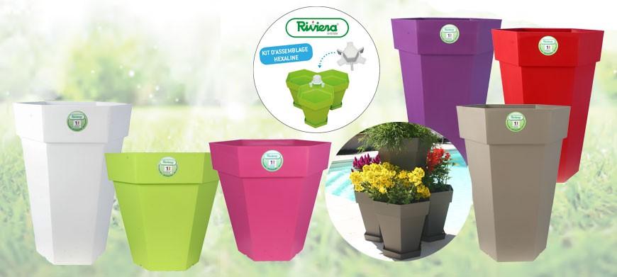 Clic-Discount vous propose la nouvelle gamme de pot de fleur Hexaline Riviera