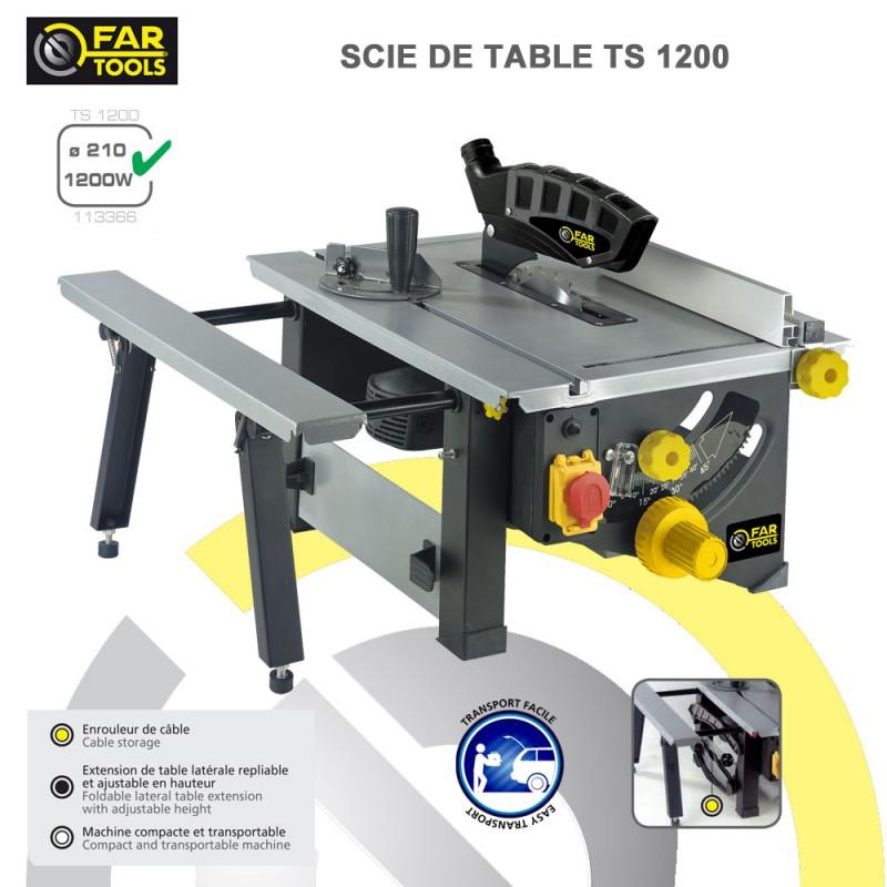 Scie circulaire sur table ts1200 113366 fartools - Scie electrique pour branches ...