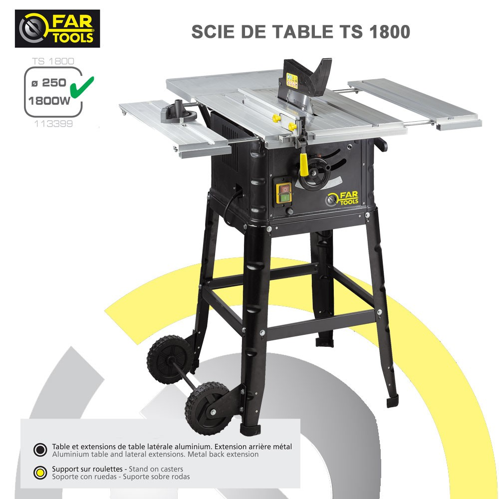 Scie circulaire sur table ts1800 113399 fartools - Scie a onglet sur table reversible ...