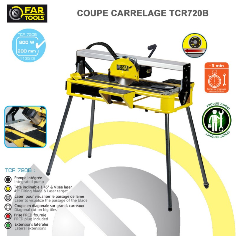 Coupe carrelage stationnaire tcr720b 113513 fartools for Coupe plinthe carrelage a 45