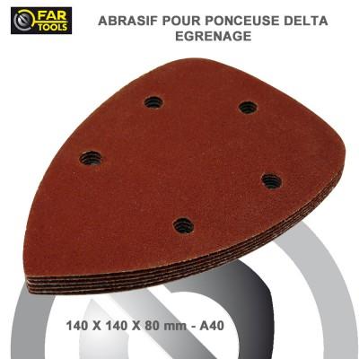 Abrasifs delta velcro 140 mm A80 - 6 pces