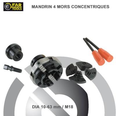Mandrin 4 mors concentriques pour tour à bois