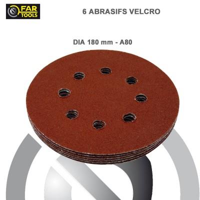 Disque abrasif ponceuse à plâtre DWS180 - A80 - 6 pces