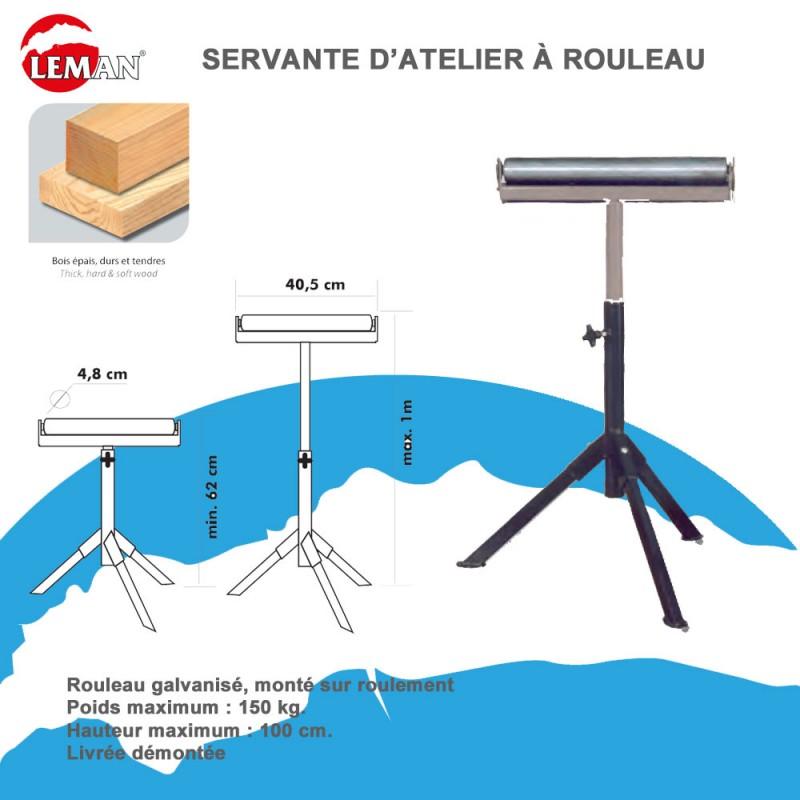 Servante d 39 atelier rouleau supporte 150 kg leman - Servante a rouleau ...