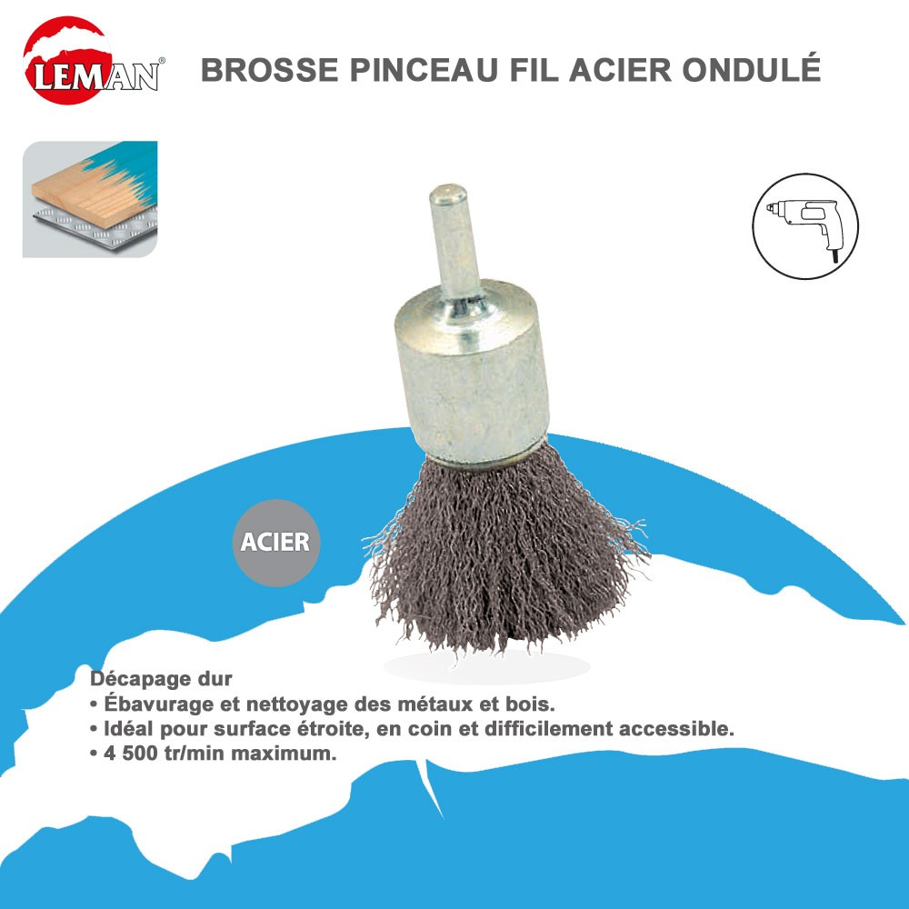 brosse pinceau fil acier pour perceuse 14 99. Black Bedroom Furniture Sets. Home Design Ideas