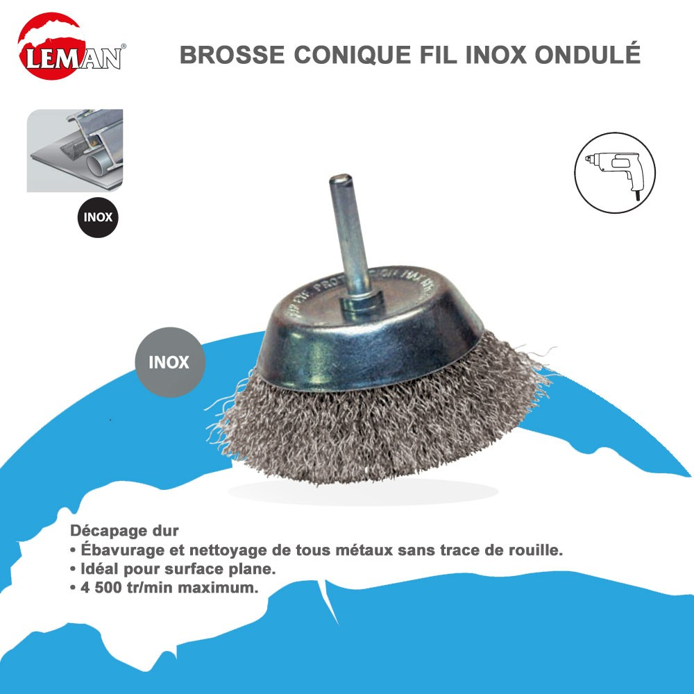 brosse conique fil inox pour perceuse 17 00. Black Bedroom Furniture Sets. Home Design Ideas
