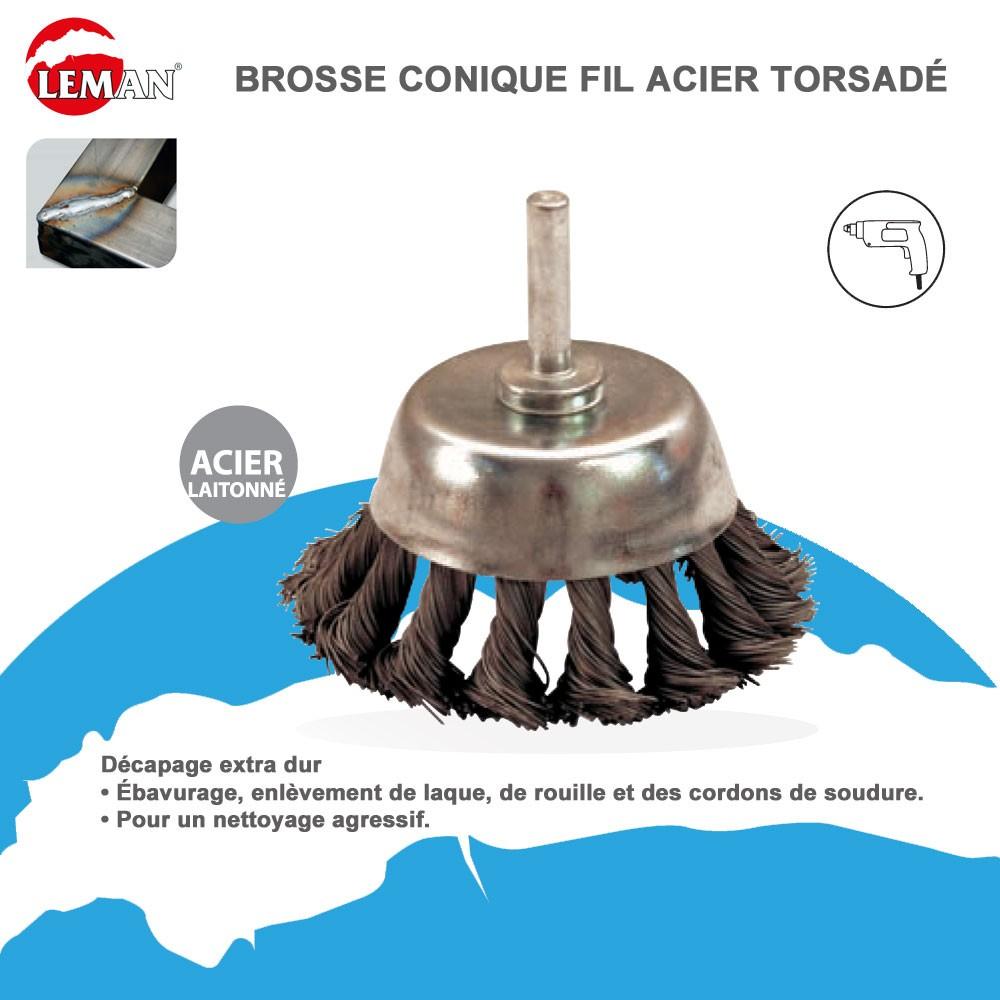 Brosse conique fil acier torsad pour perceuse 19 99 - Brosse pour perceuse ...