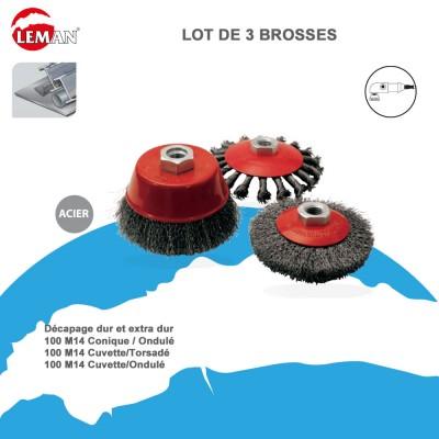 Brosses fil acier pour meuleuse - Lot de 3