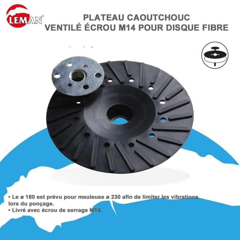 PLATEAU SUPPORT CAOUTCHOUC pour DISQUE ABRASIF ET FIBRE AUTOCOLLANT 115 MM