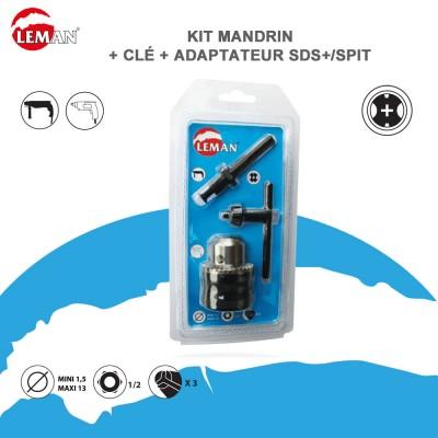 Kit mandrin avec clé avec adaptateur SDS plus spit