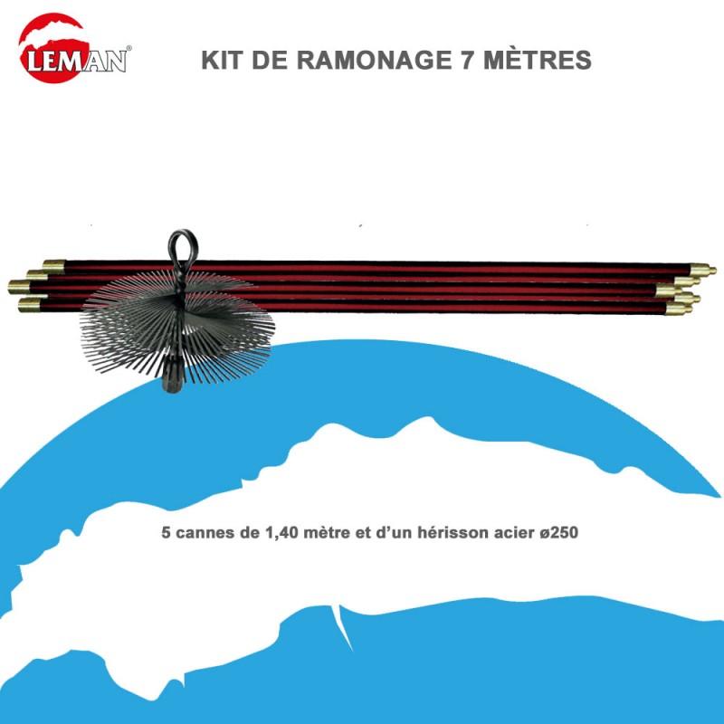 Kit de ramonage 7 m tres avec h risson rond acier kit250a - Kit de ramonage ...