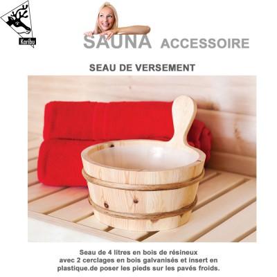Seau 4 litres en bois pour sauna