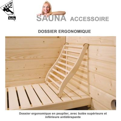 Dossier de forme ergonomique pour sauna