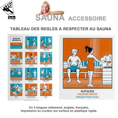 Tableau de règles à respecter au sauna