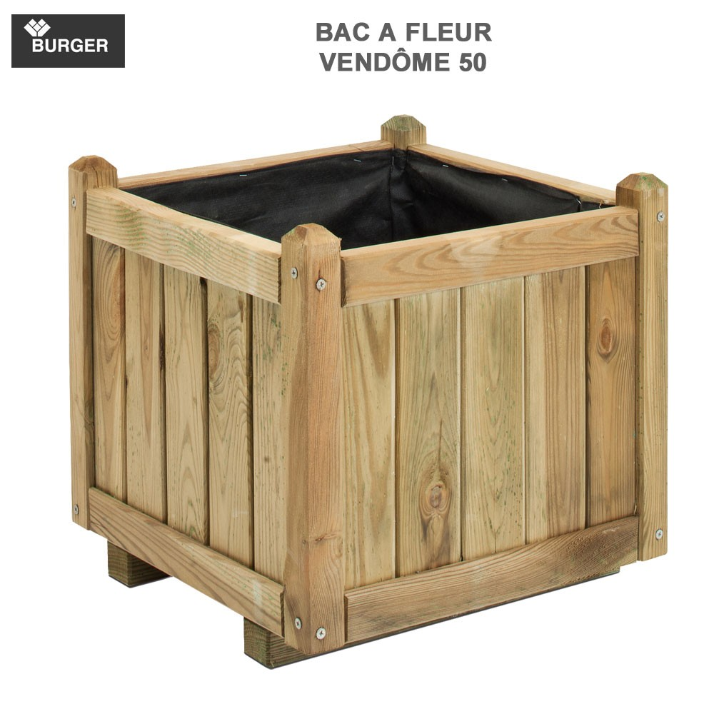 bac fleur en bois carr vend me 46 x 46 x 44 cm 0281207. Black Bedroom Furniture Sets. Home Design Ideas