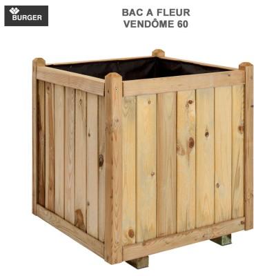 Bac à fleur en bois carré Vendome 60 x 60 x 65 cm