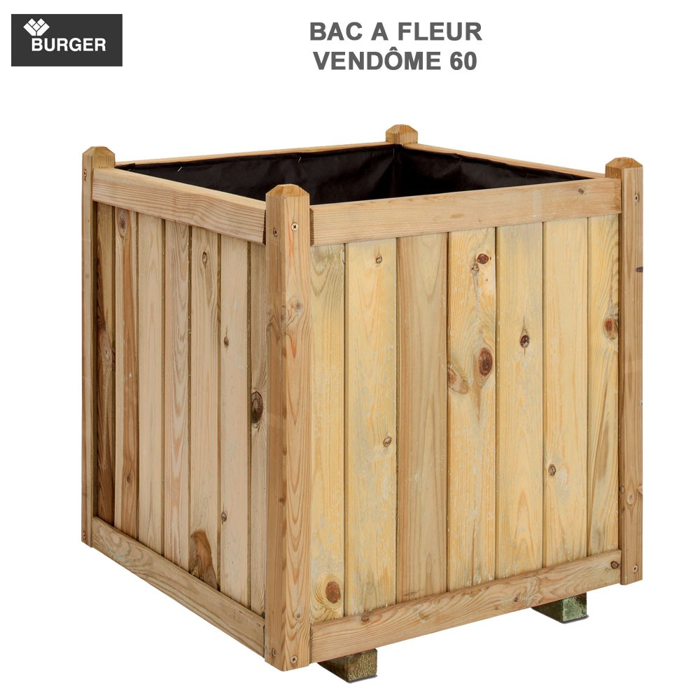 bac fleur en bois carr vendome 60 x 60 x 65 cm 0281405. Black Bedroom Furniture Sets. Home Design Ideas