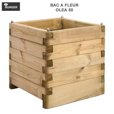 Bac à fleur en bois carré Oléa 50 x 50 x 50 cm
