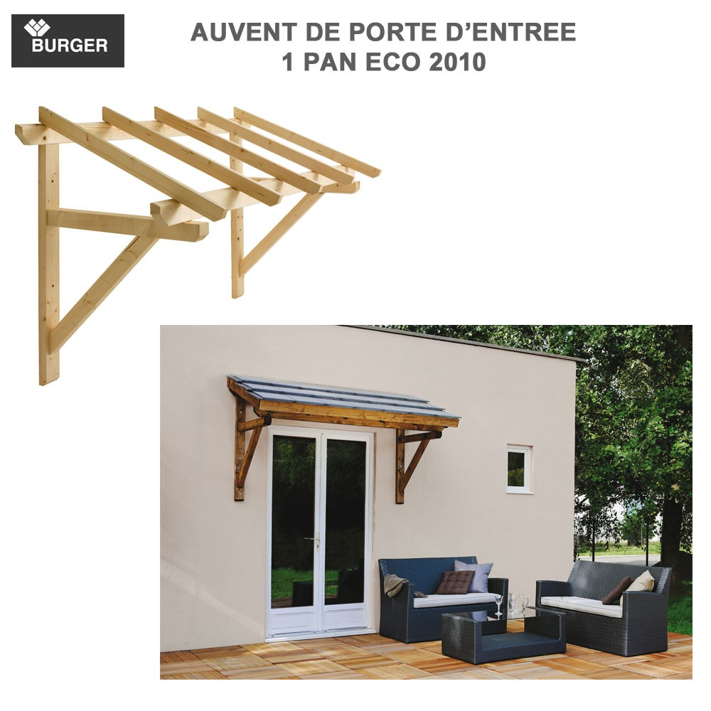 auvent porte d 39 entr e bois 1 pan 205 x 100 cm. Black Bedroom Furniture Sets. Home Design Ideas