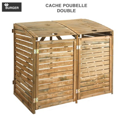 Cache poubelle bois double d'extérieur