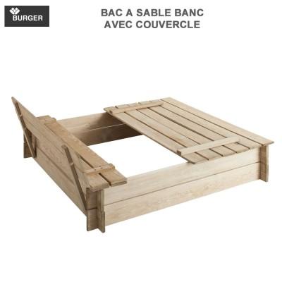 Bac à sable bois avec bancs