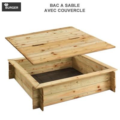 Bac à sable bois carré avec couvercle L120 x P120 x H25 cm