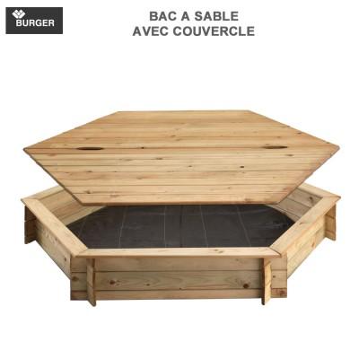 Bac à sable bois hexagonal avec couvercle diam 180 cm
