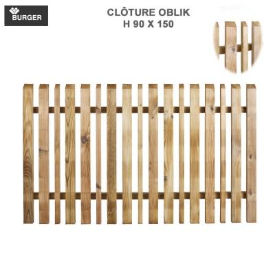Clôture bois de jardin Oblik L150 x H90 cm